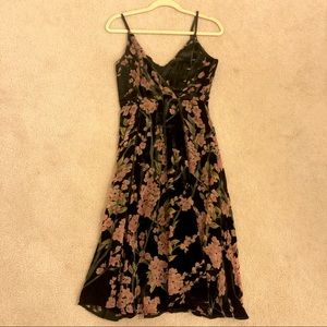 Below knee velvety floral dress from Anthropologie